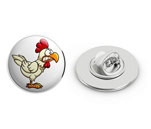 BRK Studio Crazy Silly Running Scared Chicken Cartoon Round Metal 0.75' Lapel Pin Hat Shirt Pin Tie Tack Pinback