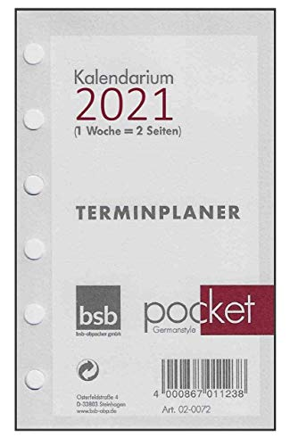 BSB Kalendarium Kalendereinlage Terminplaner Pocket A7 1 Woche auf 2 Seiten 2021