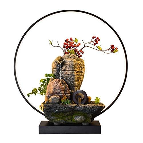 Fuente de Escritorio Creative Desktop Fountain Resin Fuente de Agua Simulando Mountain Stone Berry Forma Decoración Relajante Función de Cascada (Color : with Lamp Ring)