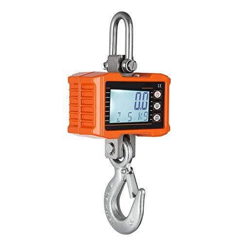 InLoveArts 1000kg Báscula Gancho con control remoto y pantalla súper clara Aluminio Escala de grúa LED Inteligente Báscula Electrónica Digital para Industria granja (2000 lbs) Naranja