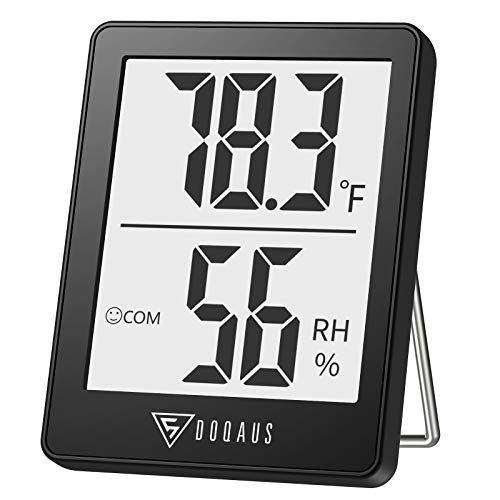DOQAUS Digital Hygrometer Indoor Thermometer, Humidity Meters, Room Thermometer and Humidity Gauge with Accurate Temperature Humidity Monitor Meter for Home, Office, Greenhouse, Mini Hygrometer-Black