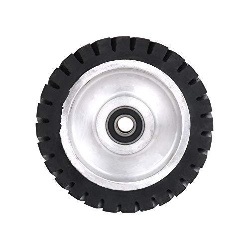 Rueda de goma para amoladora de correa de 8 pulgadas YKLP rueda de contacto de goma serrada para máquina de pulido de correa (rodamiento de 15 mm)