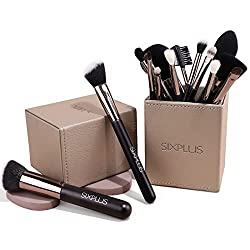 professional SIXPLUS Makeup Brush Set 15 with Makeup Holder (Coffee)