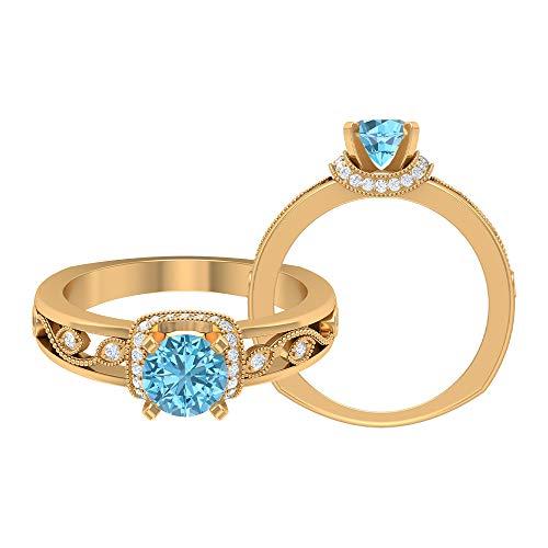 Anillo de aguamarina solitario 3/4 quilates, 1/3 quilates HI-SI diamante acento, anillo de compromiso de oro vintage (5,5 mm de aguamarina redonda), 14K Oro amarillo, Size:EU 70