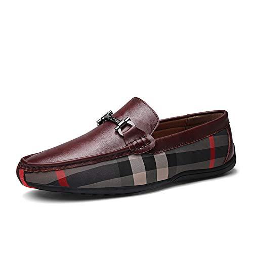 BAQI Mens Loafers beiläufige Slip-On Driving Schuhe für Männer Breathable Wohnung Mokassins Bequeme echtes Leder Schuhe,Rot,38