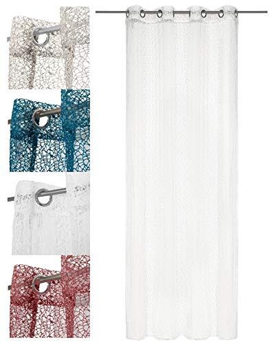 wometo Vorhang Gardine Schal in Ösen Netz- Strick-Optik 140x245 cm - cremeweiß weiß einfarbig gehäkelt transparent/halbtransparent (in vielen Farben)