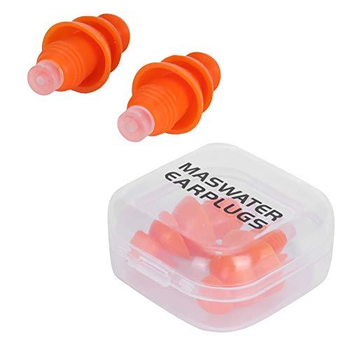 1 par de tapones para los oídos de silicona reutilizables Tapones para los oídos impermeables con reducción de ruido con caja de almacenamiento aptos para dormir,nadar,disparar, etc.(naranja)