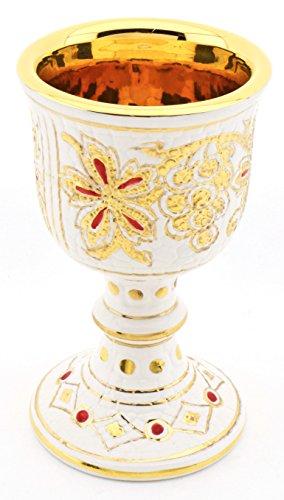 ART ESCUDELLERS CALIZ/Copa Multicolor en Ceramica Pintada a Mano con Oro de 24K, Decorado al Estilo BIZANTINO Blanco. 11cm x 11cm x 18,5cm