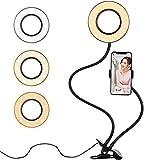 diyife anello luminoso selfie, [nuova versione] led usb selfie luce ad anello con supporto cellulareper 3 modalità luce compatibile per youtube, facebook,vlog, live stream