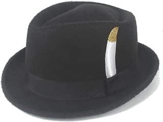 Hats and Caps Church Hat Jazz Hat Fedora Hat Felt Wool White Feather Ladies Hat Men's Hat Panama Hat Retro Hat (Color : Khaki, Size : 56-58CM)