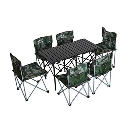 FOMT Mesa Plegable Camping con Sillas Dentro,Juego De Mesa para Acampar Al...