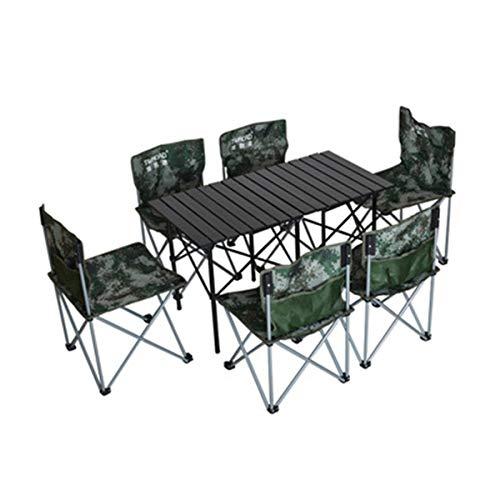 FOMT Mesa Plegable Camping con Sillas Dentro,Juego De Mesa para Acampar Al Aire Libre con Luz Plegable Portátil Que Se Utiliza para Acampar Barbacoa Acampar Al Aire Libre,Camuflaje,L