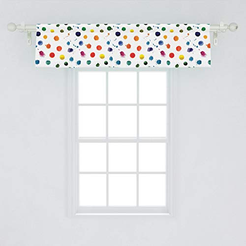 "Lunarable Paint Window Valance, Circle Color Splashes Forming Colorful Polka Dots Modern Abstract Kids Baby Playroom, Curtain Valance for Kitchen Bedroom Decor with Rod Pocket, 54"" X 12"", White Orange"