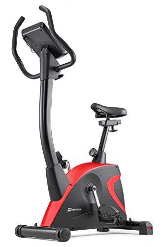 Hop-Sport Heimtrainer Fahrrad HS-005H - Ergometer mit 12 Trainingsprogrammen, 16 computergesteuerten Widerstandsstufen - Fitnessbike max. Nutzergewicht 150 kg Rot