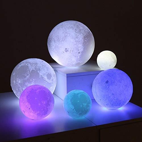 CXZC Moon Lamp Mehrfarbig 3D-Druck Moon Night Light, Mondlicht für Baby, Kinder, Geburtstagsgeschenke, Farbenfroh, 18 cm
