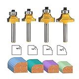 Set di 4 punte tonde per fresa ad angolo con cuscinetto, punte per arrotondare i bordi, set di punte per fresatura rotonde, con gambo da 6,35 mm, 0,63 cm, 0,95 cm, 1,27 cm