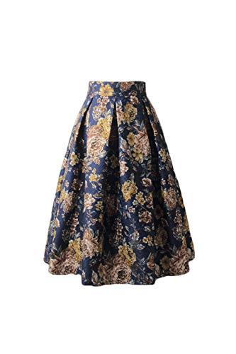 Jumojufol Mujer Retra Falda 50s Hepburn Estampada Floral Plisada una línea Falda Midi Cóctel