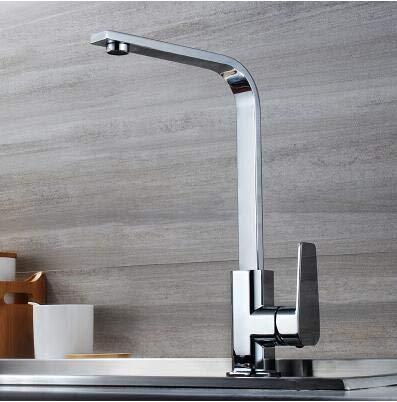 G0000D - Grifo de latón cromado para fregadero de cocina fría y caliente de una sola palanca, grifo de fregadero de cocina de alta calidad.