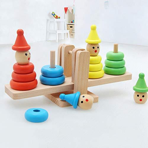 WFZ17 Kids Learning Assembly Toy,Baby Juguete de madera de dibujos animados payaso Montessori educativo bloques de construcción juego de equilibrio - 2#