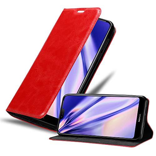 Cadorabo Hülle für Nokia 7.1 2018 in Apfel ROT - Handyhülle mit Magnetverschluss, Standfunktion & Kartenfach - Hülle Cover Schutzhülle Etui Tasche Book Klapp Style