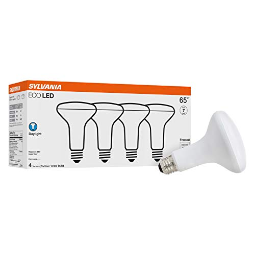 SYLVANIA ECO LED Light Bulb, BR30, 65W Equivalent, Efficient 10W, 7 Year, 650 Lumens, Frosted, Dimmable, Daylight - 4 Pack (40871)