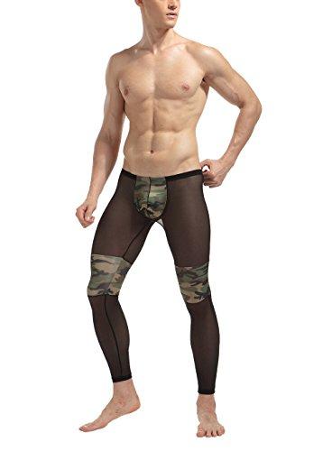 Herren Sheer Camouflage Leggings Lange Unterhose Transparenz Camo Hose Sport-Tights Unterwäsche Strumpfhose Neu (XXL (L))