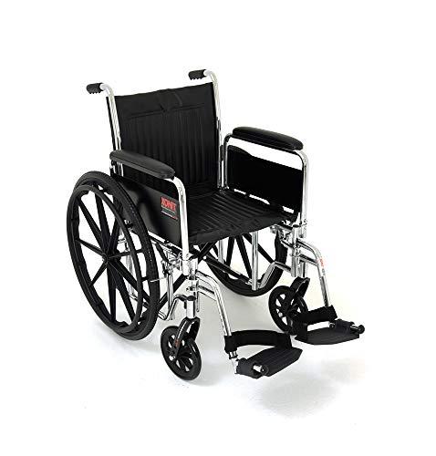 Silla de ruedas de lujo con descansa brazos largos desmontables y descansa pies desmontables, asiento de 46 cm /18¨, estructura de...