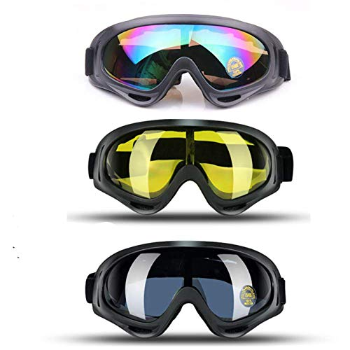 JTENG Occhiali da Sci, Occhiali da Sci Snowboard Confezioni di Occhiali da Sci per Uomo, Donna, con UV400, per l'Equitazione,Slitta Protezione,Antivento,Antiriflesso Lenti e Antipolvere(3PCS)