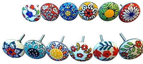 Ajuny 12 pomos de cerámica multicolor de aspecto vintage con diseño de flores para puerta de armario y cajón.