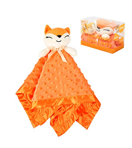 Lux Axiulo Baby Unisex Security Blanket with Stuffed Animal,Soft Plush Blanket for Gril and Boy Infant Nursery Lovey Blanket for Toddler and Newborn One Size (15quot 15quot)(Fox Orange)