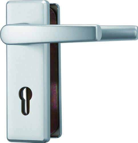 ABUS Tür-Schutzbeschlag KKT512 F1 aluminium mit beidseitigem Drücker eckig 26438