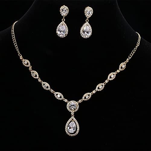 yuge Juego de joyas de boda para mujer de plata de ley 925 con forma de gota de agua, color dorado