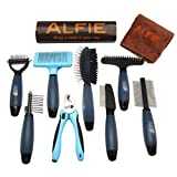 Alfie Pet - Devin 8-Piece Home Grooming Set - Flea Comb, Double Comb, Demat Comb, Mat Breaker, Slicker Brush, Double Brush, Undercoat Rake, Nail Clipper (General Purpose - Ultimate)