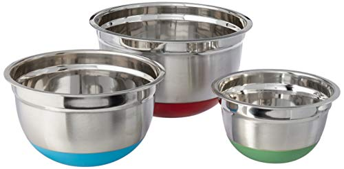 Cook Pro Stainless Steel Mixing Bowls with Non-Skid Base, Set of three