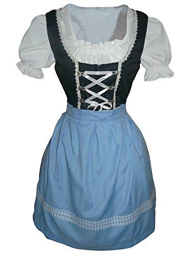Di03bs Mini Dirndl, 3 teiliges Trachtenkleid in hellblau weiß, Kleid mit Bluse und Schürze, Rocklänge 53-55 cm, Gr. 38