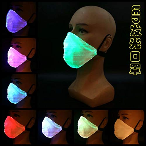 LED Light Up Fiber Mask, 7 Kleuren Lichtgevende Gloeiende Maskers, Knipperende Geactiveerde Carbon Filter Masker voor Rave Xmas Halloween Party Gift