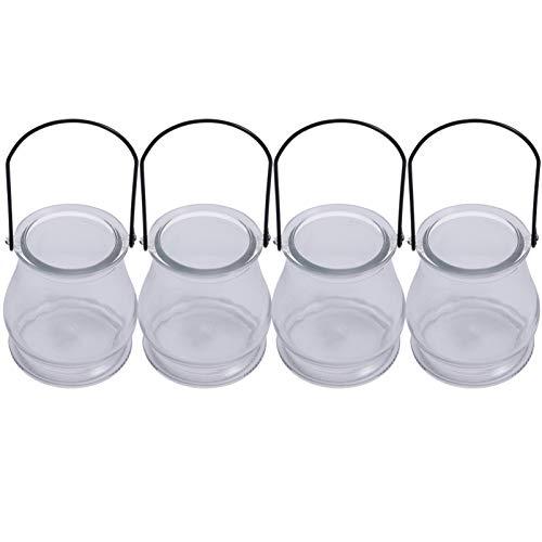 VOSAREA 4 Stück Glas Terrarium Behälter Tisch Pflanzer Teelicht Kerzenhalter Fensterbank Dekor Regale DIY Display Box Herzstück für Saftige Luft Pflanze Miniatur Märchengarten