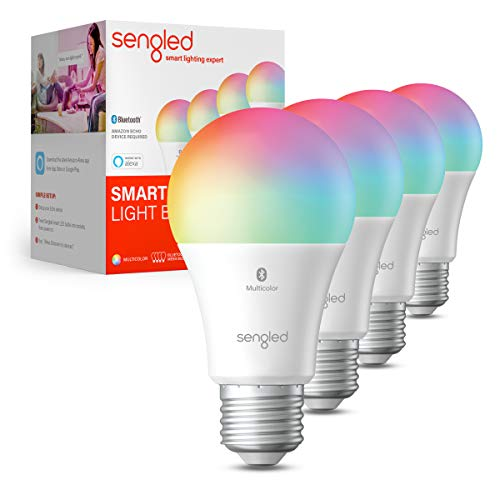 Sengled Smart Light Bulbs, Color Changing Alexa Light Bulb Bluetooth Mesh, Smart Bulbs That Work with Alexa Only, Dimmable LED Bulb A19 E26 Multicolor, High CRI, High Brightness, 9W 800LM, 4Pack