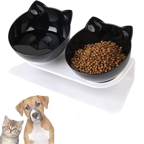 Vandove Ciotole per Gatti Inclinate, 15°Inclinato Ciotole per Alimenti per Animali, Doppio Gatto Ciotola Ciotola per Animali Anti-Vomito,per Gatti e Cani di Piccola Taglia (Nero)