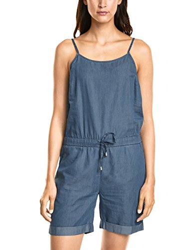 Street One Damen A371460 Jumpsuit, Blau (Mid Blue Tencel Wash 11452), 54 (Herstellergröße: 44)