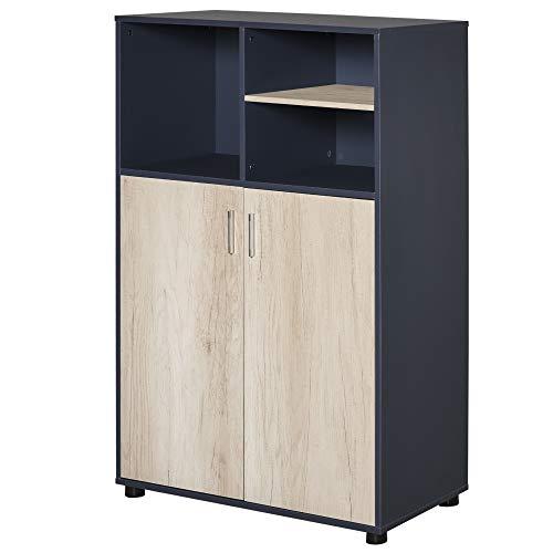 HOMCOM Armario de Almacenaje Estantería Librería Mueble Auxiliar con 3 Compartimentos y 2 Puertas para Salón Oficina Dormitorio 80x40x120 cm Azul y Madera