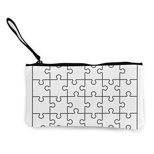 Witte decoupeerzaag puzzel Canvas portemonnee prachtige muntportemonnee kleine Canvas muntportemonnee wordt gebruikt om muntverandering, ID en andere vast te houden
