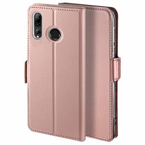 YATWIN Handyhülle für Huawei P Smart Plus 2019 Hülle Leder Premium Leder Flip Schutzhülle für Huawei P Smart Plus 2019 Tasche, Rose Gold