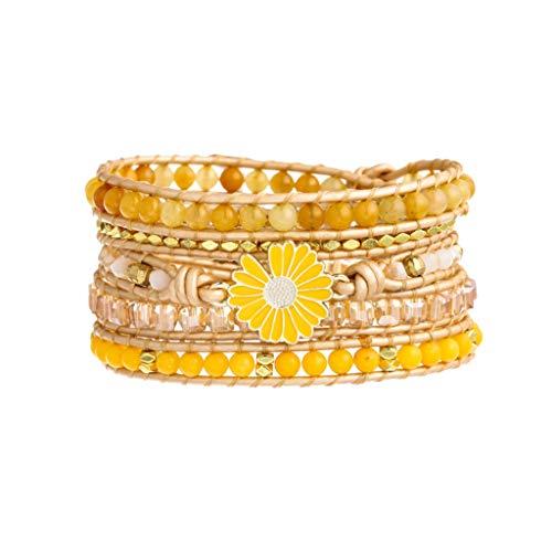 Plumiss Bohemia 5 Wraps Daisy Bracelet Handmade Multilayer Beaded Jewellery For Women And Girls