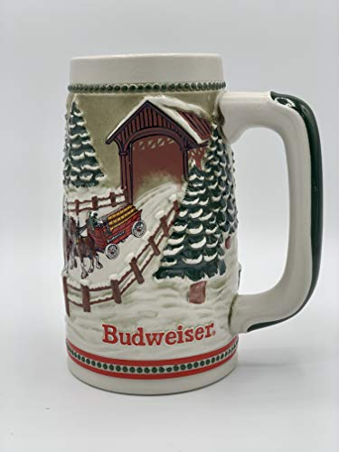 1984 Budweiser Beer Stein Holiday Stein Clydesdales As They Crossed Covered Bridge