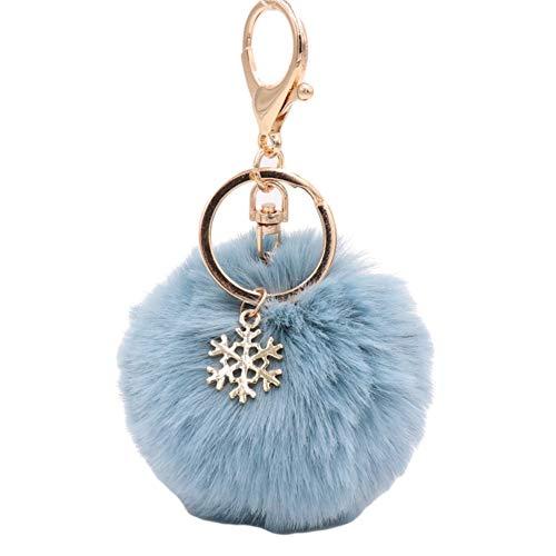 XdiseD9Xsmao Copo De Nieve Duradero Fluffy Pompom Ball Design Llavero Anillo Titular...