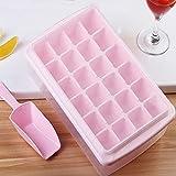 JTKJ Cubitera de hielo con tapa y cubo, 24 rejillas de silicona, flexible y segura, con caja de hielo, pala y tapa, color rosa, 33 cuadrículas.