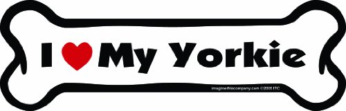 Imagine This Bone Car Magnet, I Love My Yorkie, 2-Inch by 7-Inch