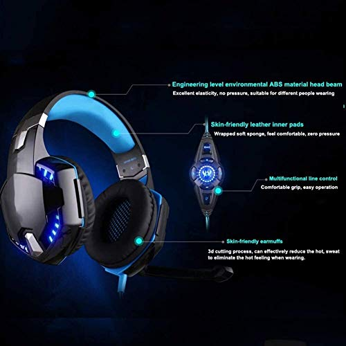 Tête monté Un Casque Intelligent de réduction du Bruit. PS4 Wired Gaming Headset, Casque Professionnel avec Rotatif, Réduction du Bruit Micro et contrôle du Volume for PS4, Nintendo Switch, Xbox One,
