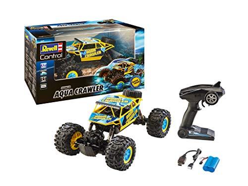 Revell Control 24447 RC Aqua Crawler, 2.4 GHz, Geländewagen mit 4WD Allradantrieb, wasserdicht und schwimmfähig, wechselbarer Akku, 35,5 cm ferngesteuertes Auto, gelb/türkis